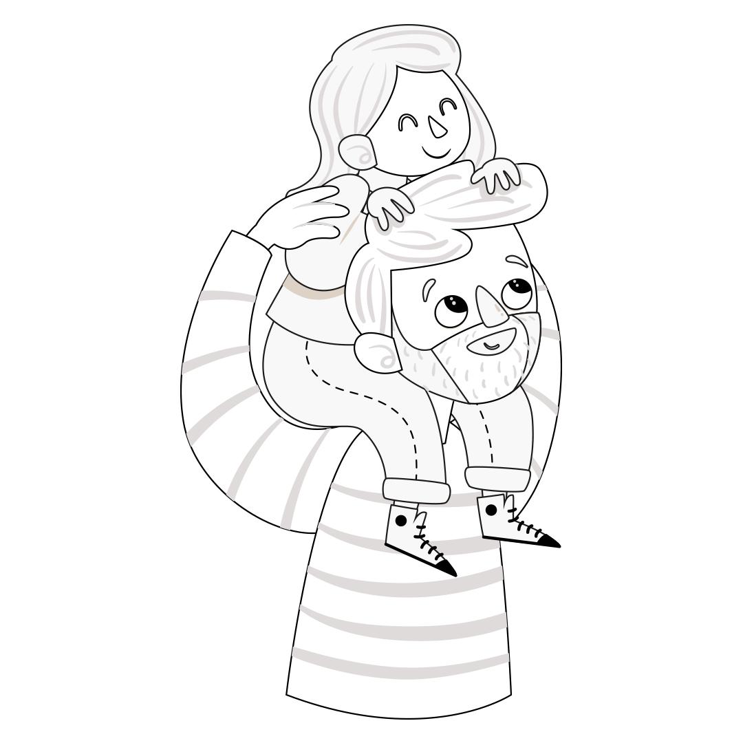 Desenho de pai com filha para colorir