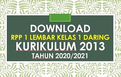 Rpp Daring 1 Lembar Kelas 1 Sd K13 Revisi 2020 2021 Sd Negeri Dabung 2