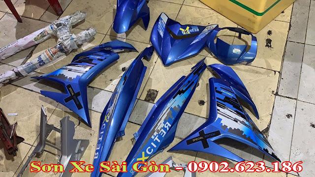 Mẫu sơn xe máy Exciter 150 tem đấu xanh candy cực đẹp