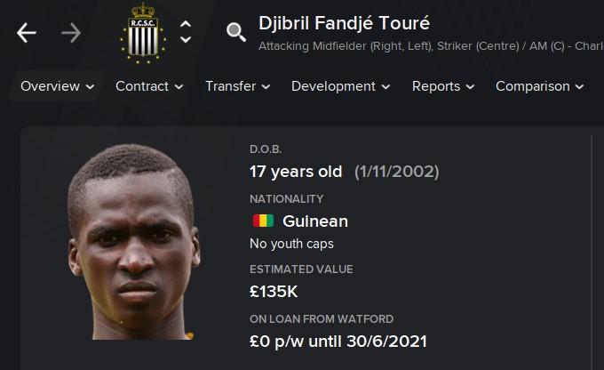 Djibril Fandje Toure FM21 Football Manager 2021 Wonderkid