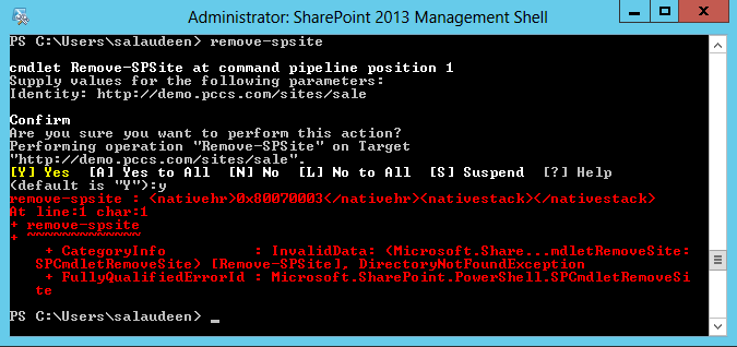 sharepoint delete corrupt site collection