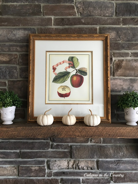 Apple Art on Fall Mantel
