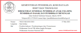 Surat Edaran Verval TIK : Pendampingan dan Pemantauan Pelaksanaan Verval TIK dalam rangka Persiapan Pelaksanaan Asesmen Nasional 2021
