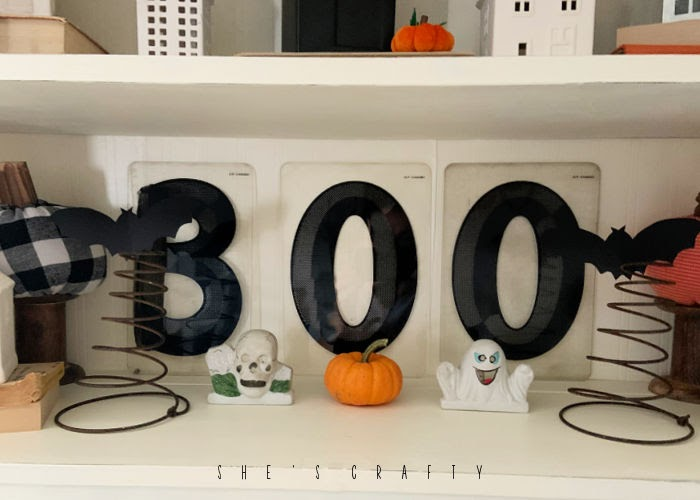 Halloween Home Decor - BOO marquee letters, bat springs