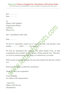 purchase order cancellation letter to supplier