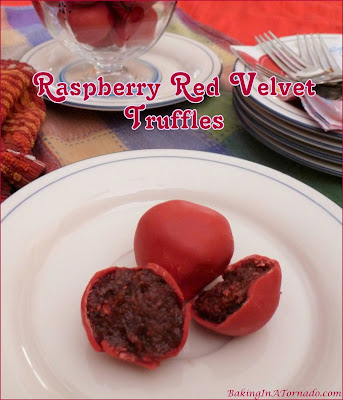 Raspberry Red Velvet Truffles are a no bake sweet treat made with just 6 ingredients in under a half hour.   Recipe developed by www.BakingInATornado.com   #recipe #dessert
