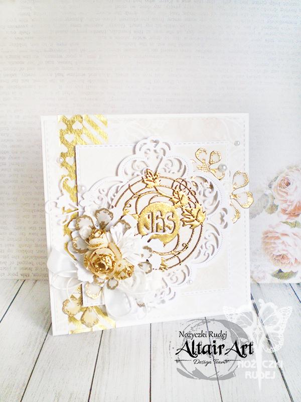 069c24b8f020f7 Będąc wciąż w temacie Pierwszych Komunii Świętych przedstawiam Wam kolejną  pracę dla Altair Art. Pełna złota i embossingu kartka lśni elegancko, ...