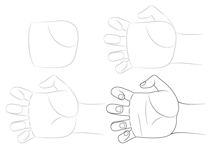 Gambar cakar tangan selangkah demi selangkah