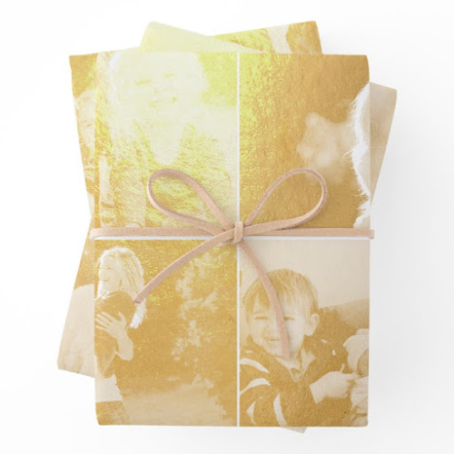 Create Personalized Christmas Wedding Birthday Photo Gold Foil Wrapping Paper Sheets