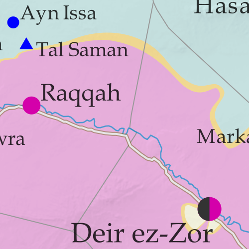 Map of fighting and territorial control in Syria's Civil War (Free Syrian Army rebels, Kurdish YPG, Syrian Democratic Forces (SDF), Jabhat Fateh al-Sham (Al-Nusra Front), Islamic State (ISIS/ISIL), and others), updated to January 20, 2017. Now includes terrain and major roads (highways). Includes recent locations of conflict and territorial control changes, such as the Barada Valley, Hazrama, Thawra, the T4 airbase, and more. Colorblind accessible.