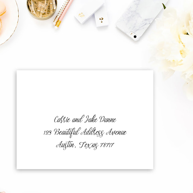envelope is addressed in a casual manner to a married couple.