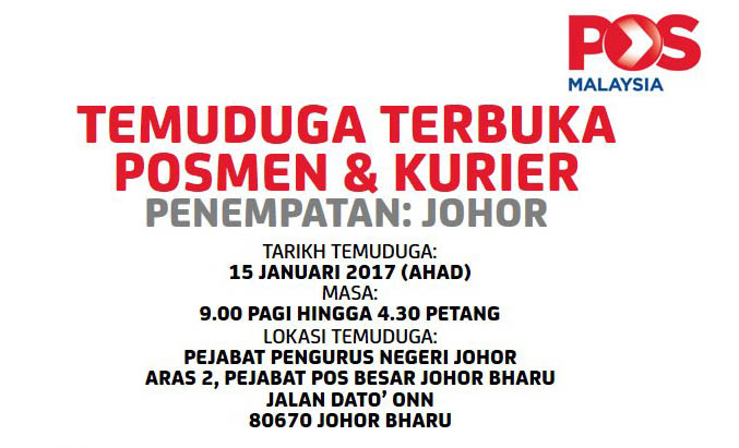 Temuduga Terbuka POS Malaysia 2017 Johor
