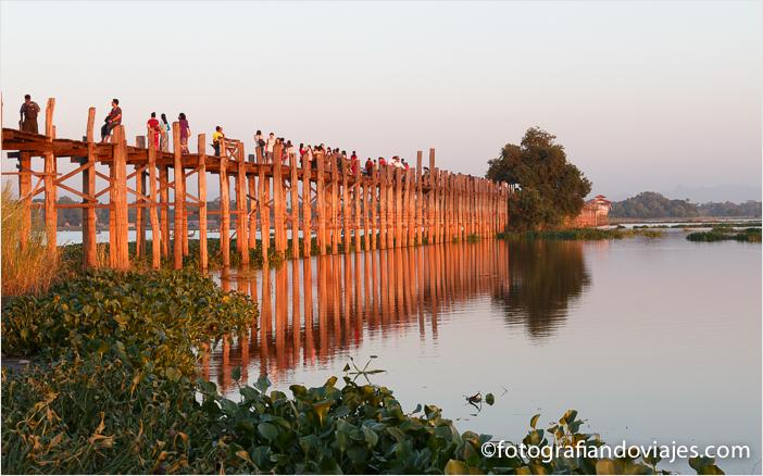 Puente U Bein en Amarapura, Myanmar