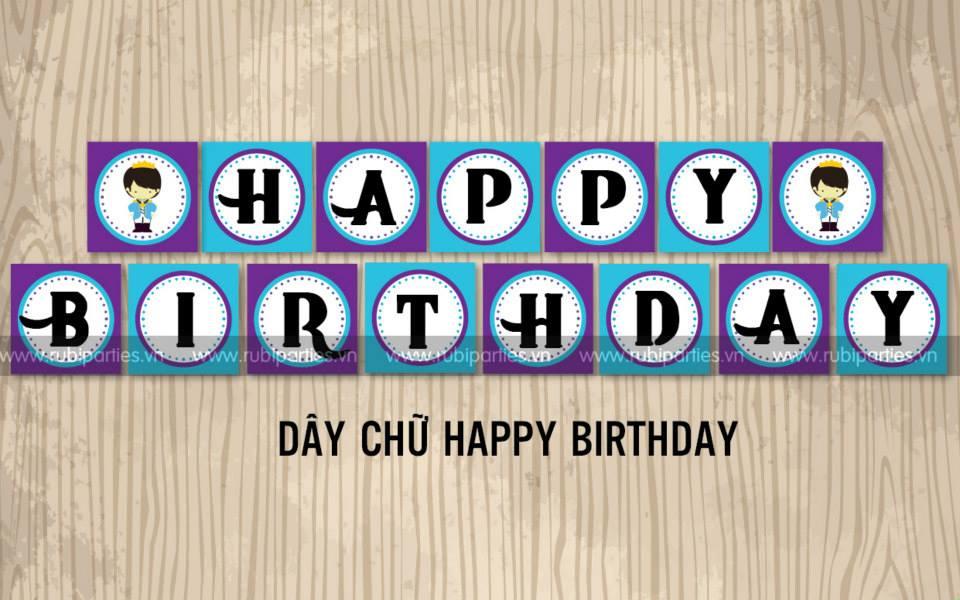 Day chu Happy Birthday theo chu de Hoang Tu