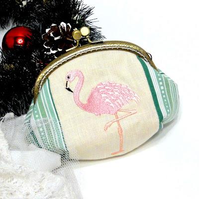 Женский кошелек Розовый фламинго: натуральный хлопок, ширина фермуара 12 см. Единственный экземпляр, ручная работа