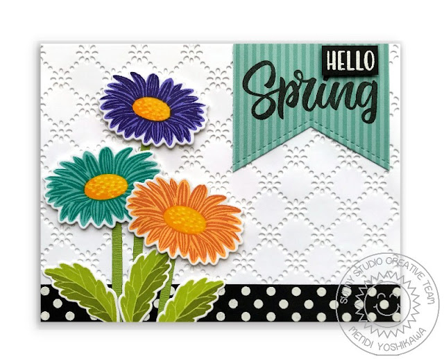 Sunny Studio Blog: Layered Daisy Hello Spring Handmade Card (using Cheerful Daisy & Background Basics Stamps, Frilly Frames Eyelet Lace & Fishtail Banner Die and Dots & Stripes Pastel Paper)