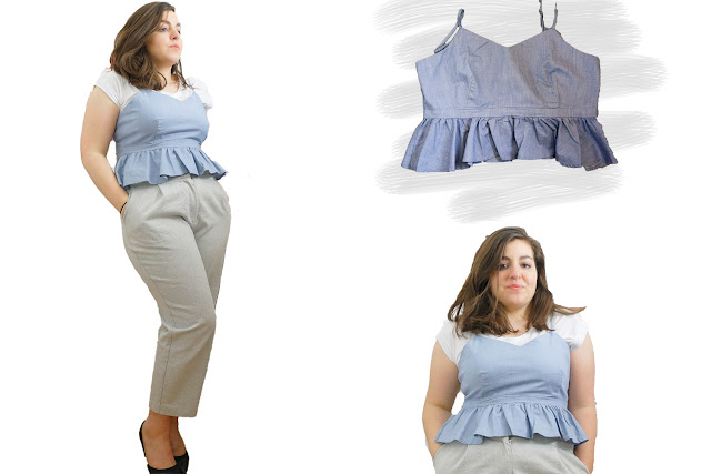 Bralet with peplum layered over t-shirt and styled with tailored culottes and heels