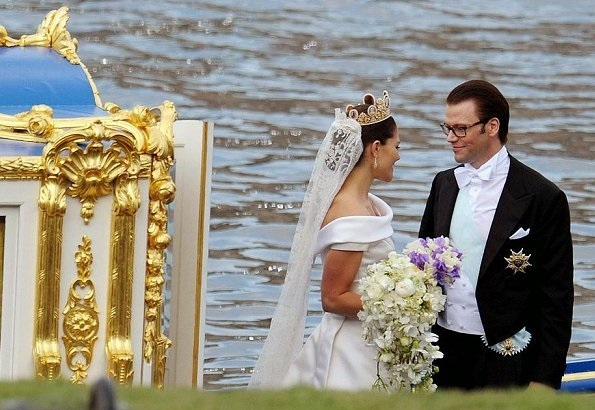 King Gustaf and Queen Silvia wedding anniversary. Princess Estelle, Princess Madeleine, Princess Leonore, Princess Sofia, Prince Oscar, wedding dress