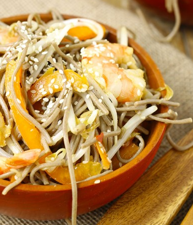 COLD SESAME GINGER SOBA NOODLE SALAD WITH SHRIMP