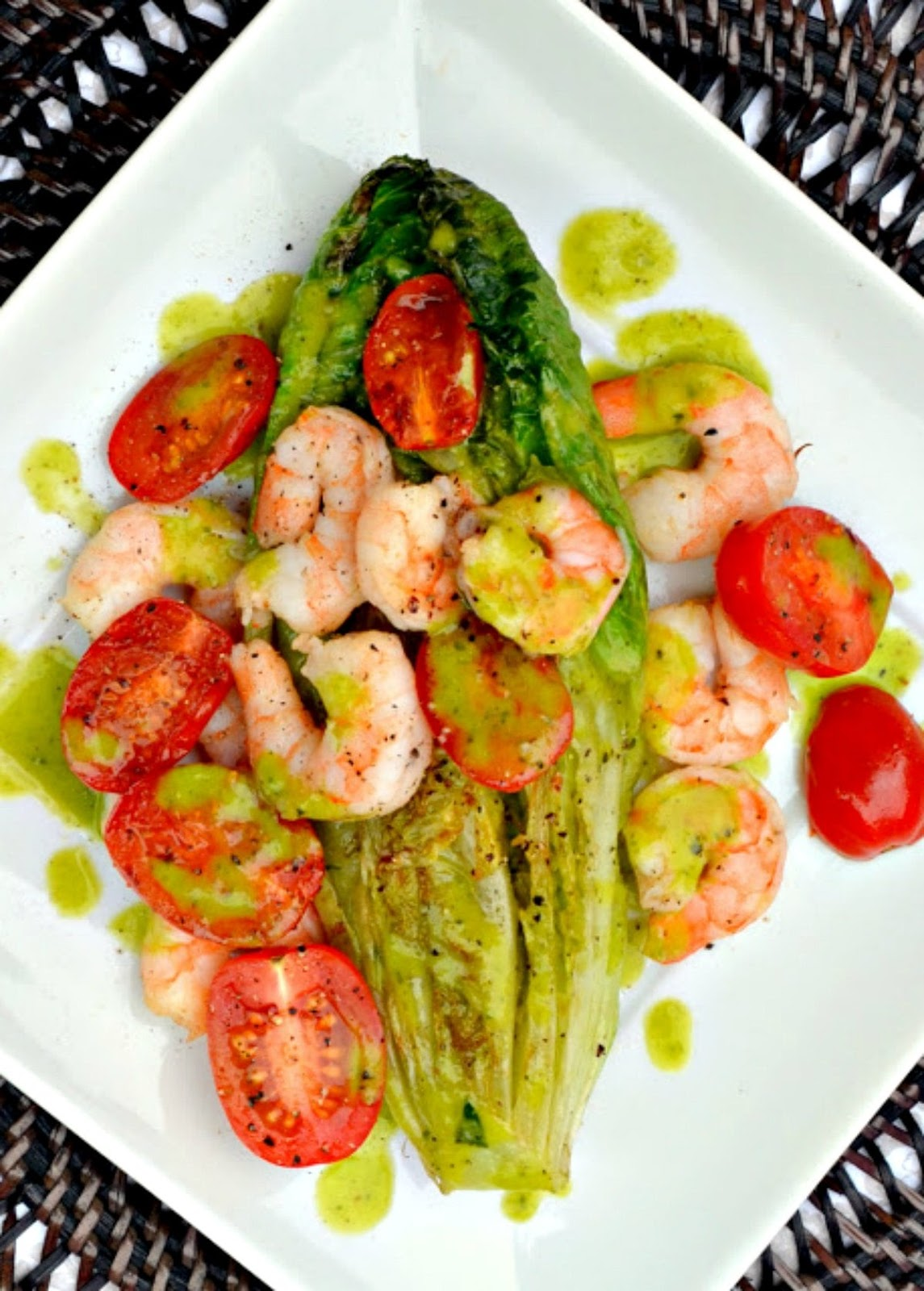 Grilled Romaine Salad with Shrimp and a Basil Vinaigrette is a favorite warm comfort food salad using hearts of Romaine. A favorite main dish or side from Serena Bakes Simply From Scratch.
