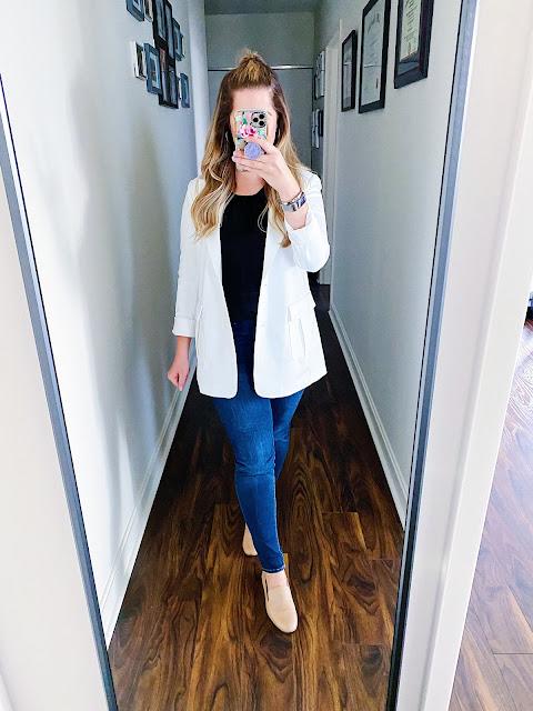 white blazer outfit casual, white blazer outfit work, white blazer outfit casual chic