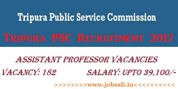 Govt jobs in Tripura, TPSC Asst Professor Recruitment 2017, TPSC Jobs