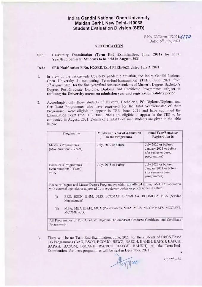 Notification regarding 1st and 2nd year Examination June TEE 2021