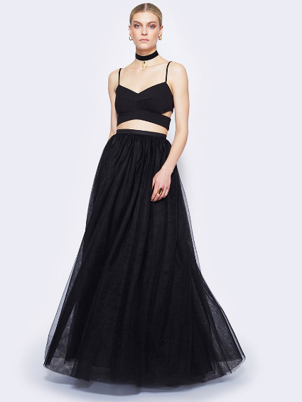 Black Two Piece with Designed Skirt - Homecoming Dress