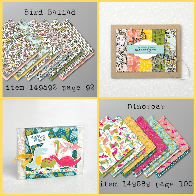 Bird Ballad and Dinoroar Designer Series Paper and project samples - shop with Nicole Steele, The Joyful Stamper!