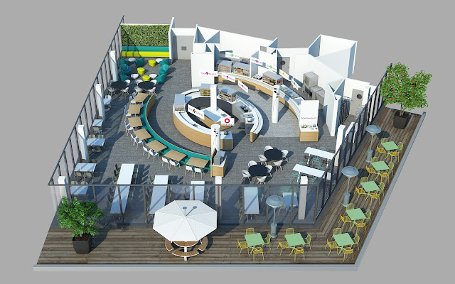 Axo 3D de restaurant - Groupe Elior
