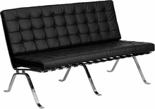 Contemporary Leather Love Seat with Metal Legs