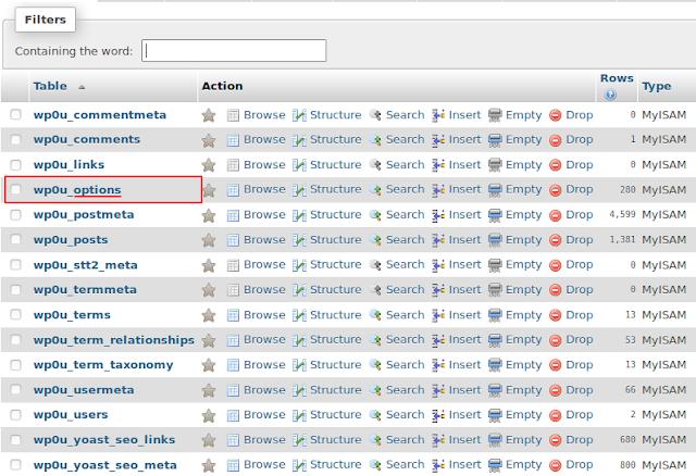 Cara Mengganti Dan Mengetahui Tema WordPress Aktif Di PHPMyadmin