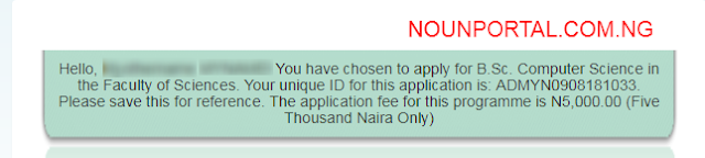 NOUN Admission form Success Message National Open University of Nigeria