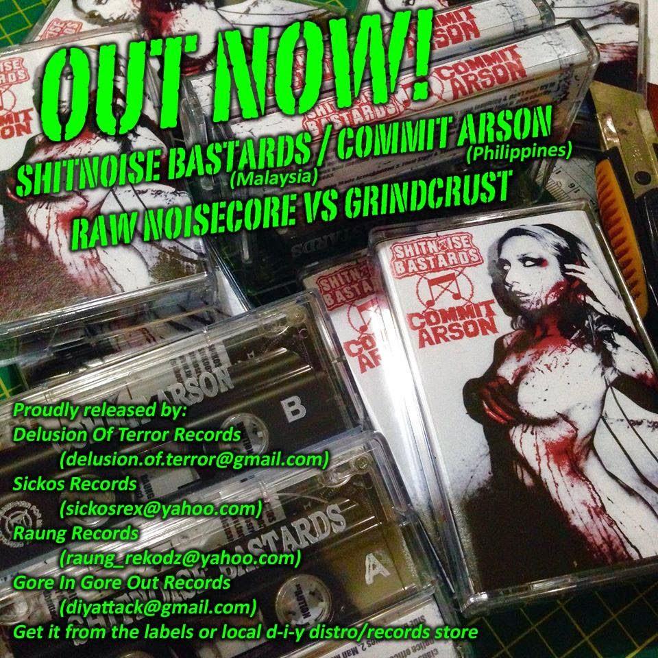 sickos records, commit arson, shitnoise bastards, kaset, cassette
