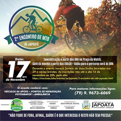 Japoatã está realizando para os apaixonados por bike o 2° ENCONTRO DE MTB