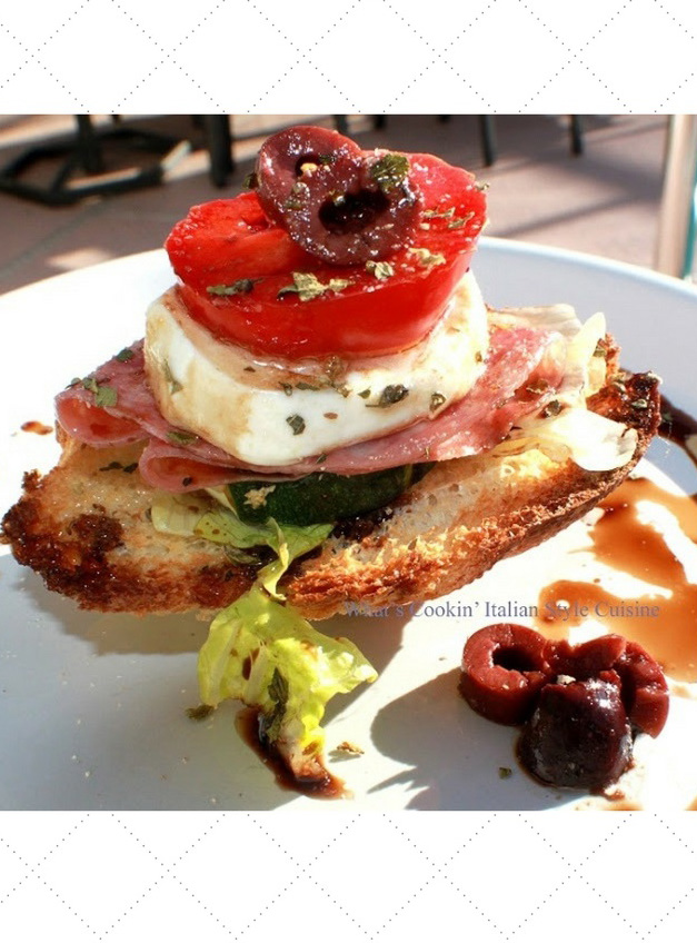 this is antipasto on top of crostini