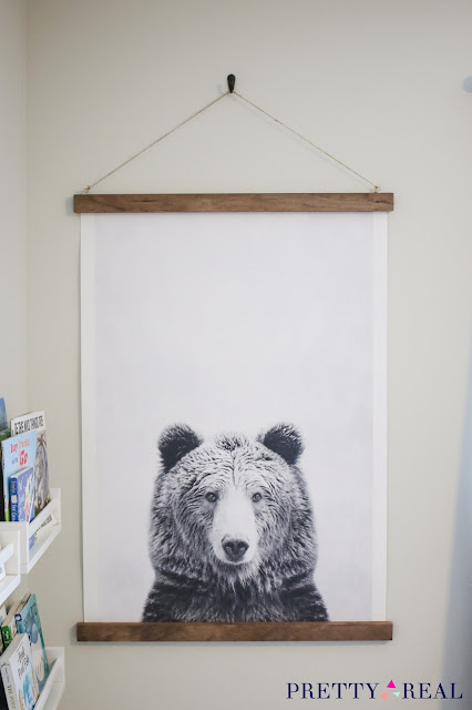 DIY canvas wall hanging as large statement art in boy's room