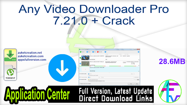 Any Video Downloader Pro 7.21.0 + Crack