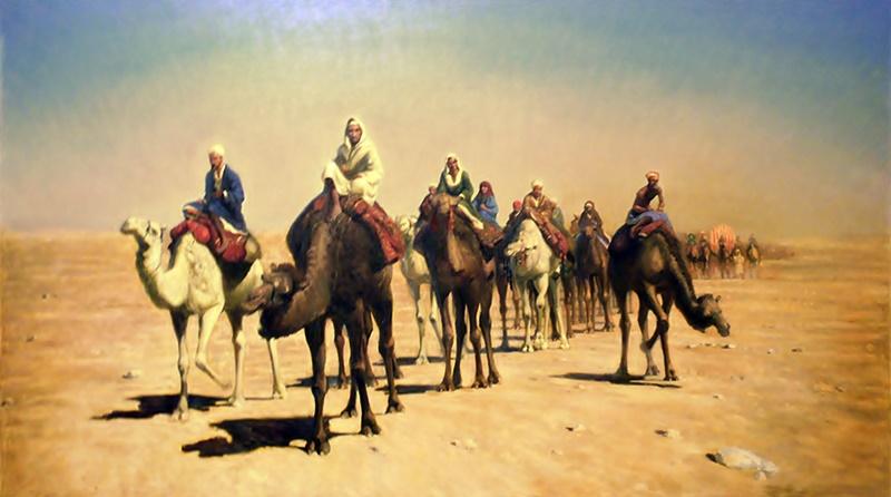 Caravana de camelos no deserto representando Abrão com sua parentela indo para a terra que Deus prometeu que daria a ele.