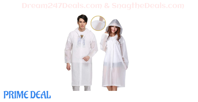 35%off 2 Pack Reusable Raincoat Emergency Rain Gear Jacket with Hoods and Sleeves