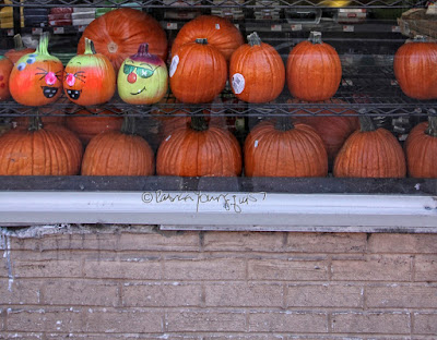 his image features an array of pumpkins in the window of a supermarket. Some have faces painted on them. Others  are just plain ol' pumpkins.