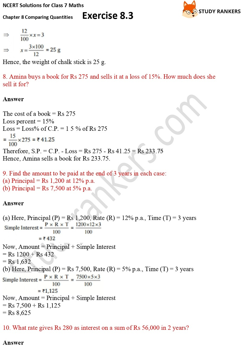 NCERT Solutions for Class 7 Maths Ch 8 Comparing Quantities Exercise 8.3 5