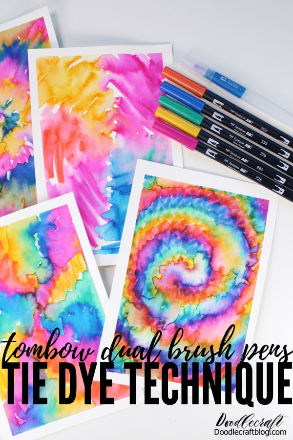 Make a tie dye work of art on paper using Tombow Dual Brush Pens and Water Brush. It's super fast, fun, forgiving and a great project for any skill level.