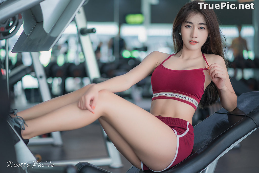 Image Thailand Hot Beauty Model - Nisa Khamarat - Red and Black Fitness Set - TruePic.net - Picture-4