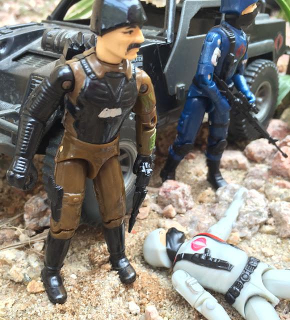 1983 Major Bludd, 1984 Cobra Stinger, Bootleg Cobra Trooper, Black Major, Crimson Trooper, Snow Serpent Trooper, Desert Trooper