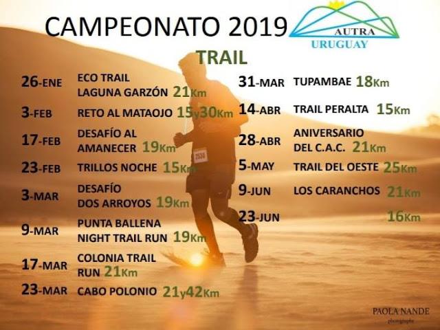 Calendario AUTRA 2019 de carreras de trail en Uruguay
