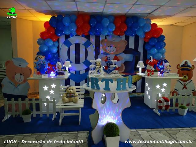 Decoração festa de aniversário infantil Ursinho Marinheiro - Provençal