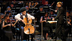 BBC Young Musician final, 2016. Sheku Kanneh-Mason plays with the BBC Symphony Orchestra and conductor Mark Wigglesworth