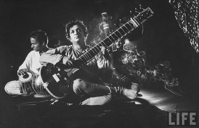 Ravi Shankar sitar concert black and white