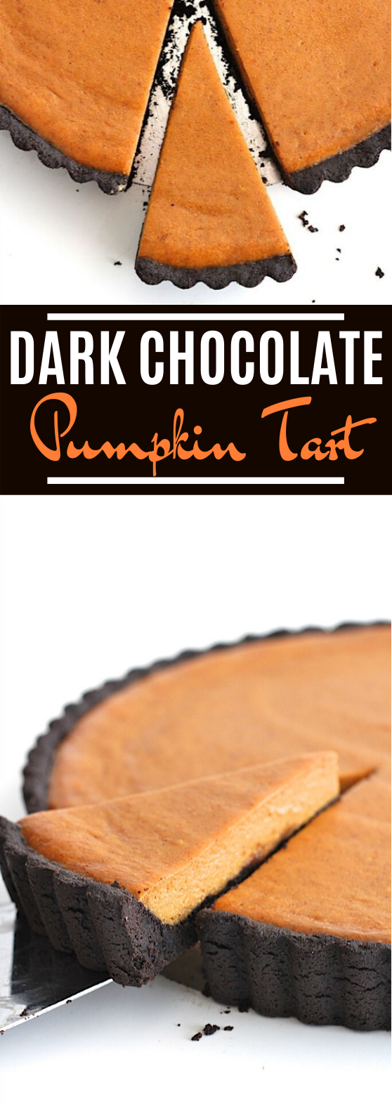 Dark Chocolate Pumpkin Tart #chocolate #desserts #pumpkin #pie #thanksgiving